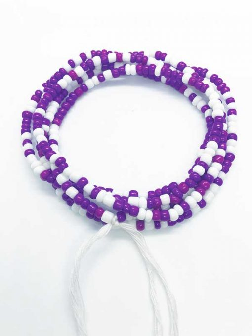 Purple White Waist Beads