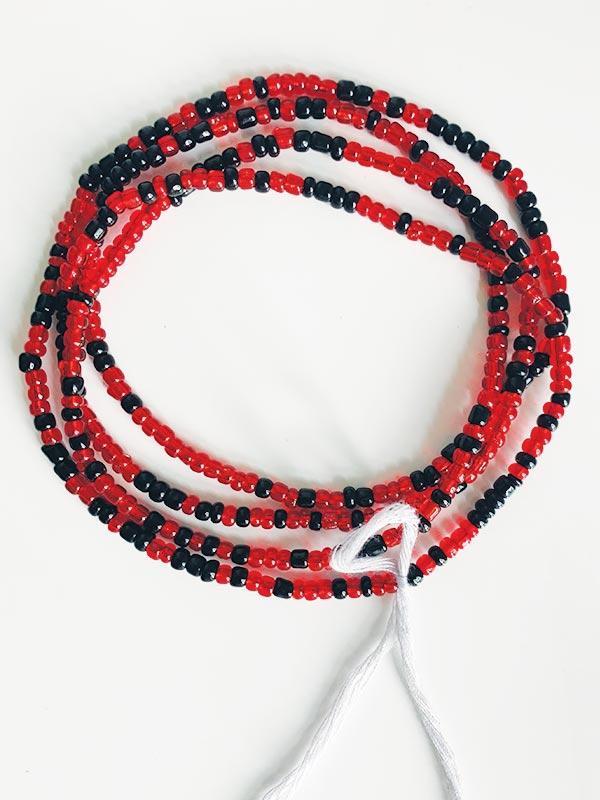 Black Luminous Red Waist Beads Traditional Waist Beads